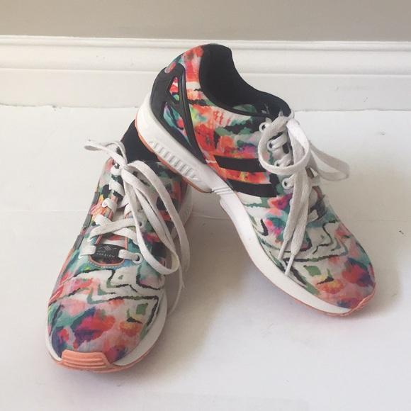 Adidas zx flux torsion art colorful tennis shoes